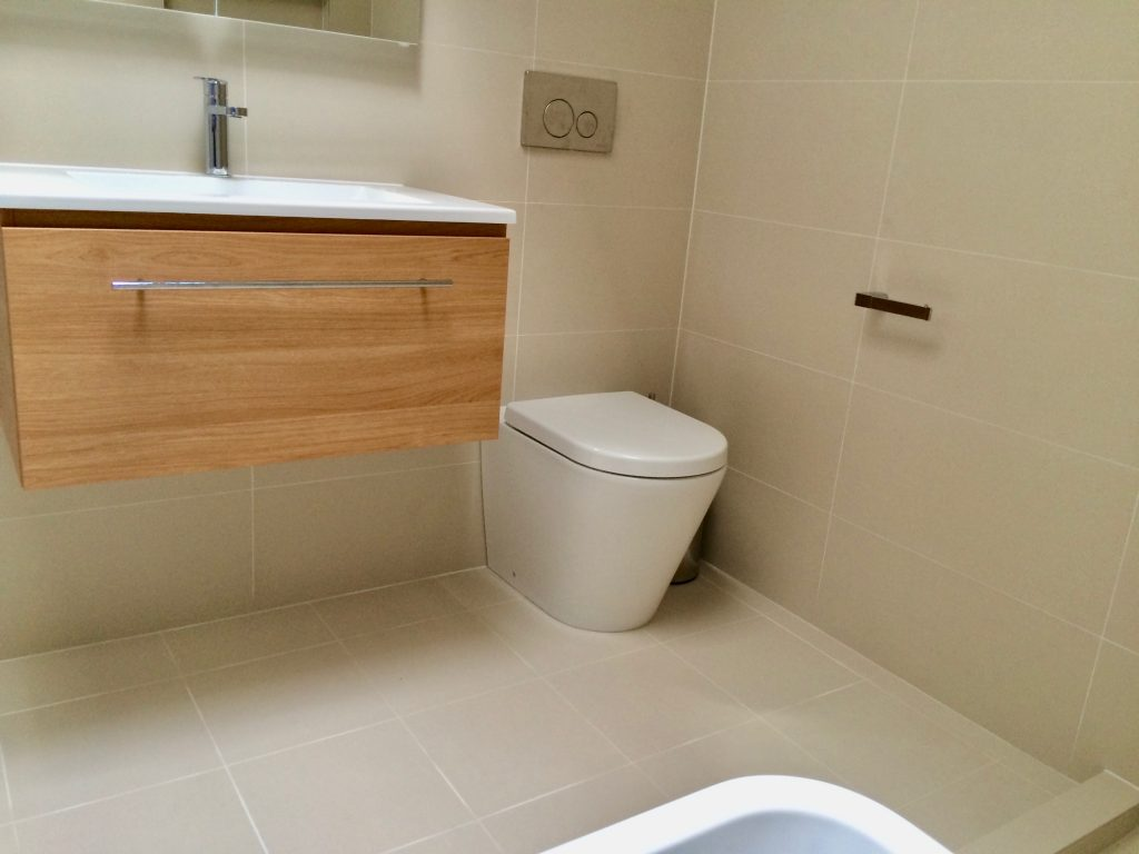 In-wall cistern with wall faced toilet pan in ensuite - bathroom renovation by Master Bathrooms & Kitchens.