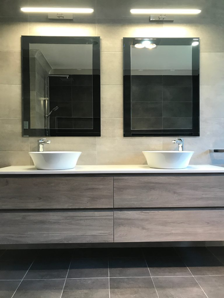 Gorgeous wall hung vanity with deep drawers.