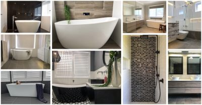 A collage of just some of our beautiful bathroom renovations.