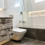 Stunning white and neutral bathroom - renovation by Master Bathrooms & Kitchens.